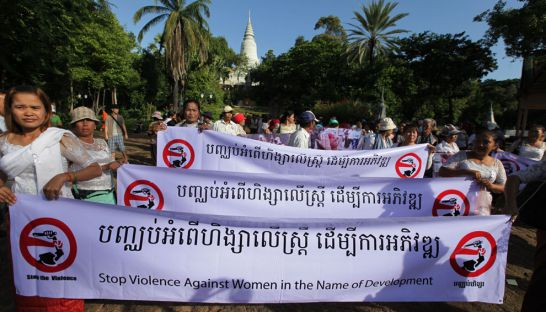 Women group campaigned to stop violence against women. Heng Chivoan