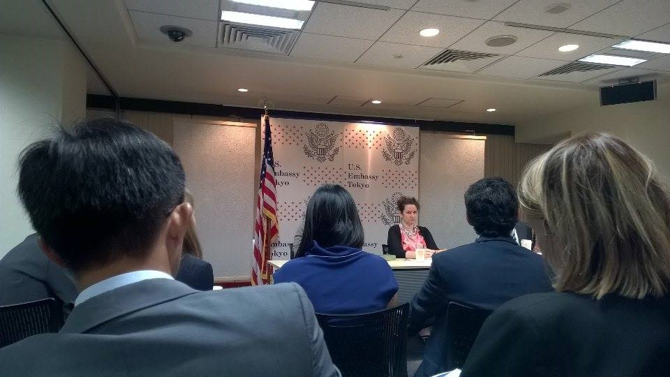 Soprach attended the meeting with US Embassy Officers in Tokyo, Tokyo, May 2015 by WSD/Pacific Forum CSIS Young Leaders